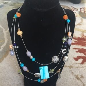 Boho Beaded Statement Necklace Multi-color